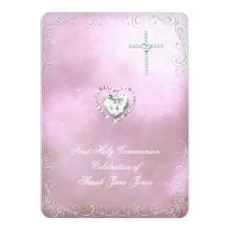 Girl First Holy Communion Silver Pink Heavenly 13 Cm X 18 Cm Invitation Card