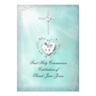 Girl First Holy Communion Teal Blue Heavenly 13 Cm X 18 Cm Invitation Card