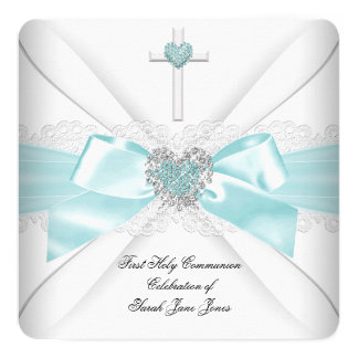 Girl First Holy Communion Teal White Heart 13 Cm X 13 Cm Square Invitation Card