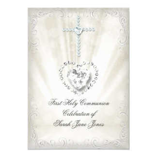 Girl First Holy Communion White Beige Heavenly 2 13 Cm X 18 Cm Invitation Card