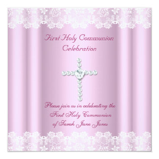 Girl First Holy Communion White Lace Pink Cross 13 Cm X 13 Cm Square Invitation Card