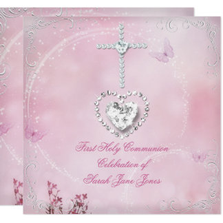 Girl First Holy Communion White Pink butterfly Card