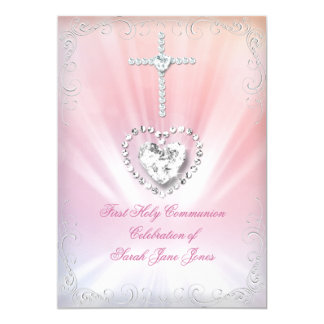 Girl First Holy Communion White Pink Heavenly 2 5x7 Paper Invitation Card