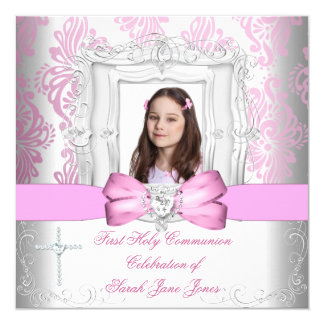 Girl First Holy Communion White Pink Photo 13 Cm X 13 Cm Square Invitation Card