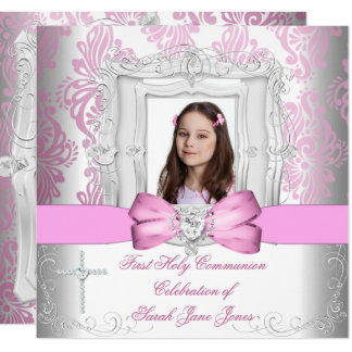 Girl First Holy Communion White Pink Photo Card