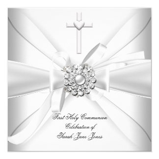 Girl First Holy Communion White Silver 13 Cm X 13 Cm Square Invitation Card