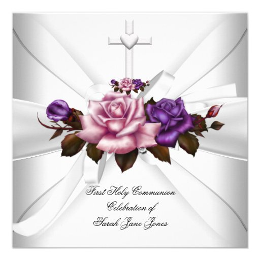 Girl First Holy Communion White Silver Pink Purple Invitations