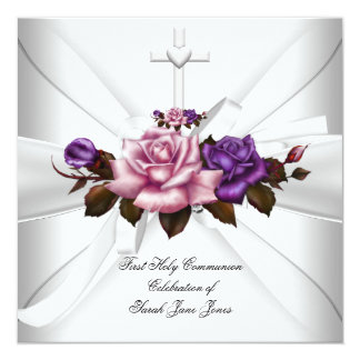 Girl First Holy Communion White Silver Pink Purple 5.25x5.25 Square Paper Invitation Card