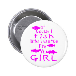 GIRL FISHING 6 CM ROUND BADGE