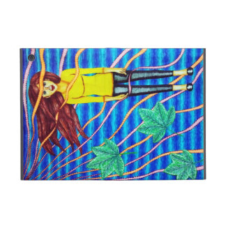 Girl Floating In Psychedelic Sky Covers For iPad Mini