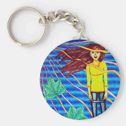 Girl Floating In Psychedelic Sky Keychains