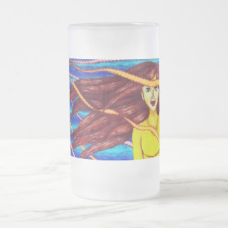 Girl Floating In Psychedelic Sky 16 Oz Frosted Glass Beer Mug