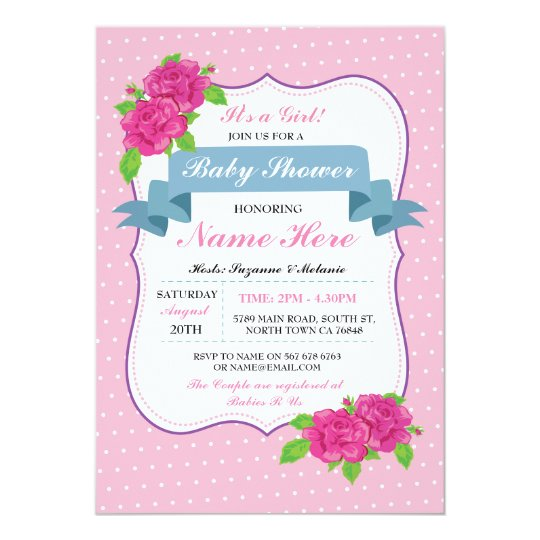 Girl Floral Pink Baby Shower Or Twins Invitations