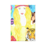 """Girl Flower Moneky Tiger Wrap Canvas (11"""" x 16.5"""") Gallery Wrap Canvas"""