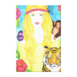 """Girl Flower Moneky Tiger Wrap Canvas (32"""" x 48"""") Gallery Wrap Canvas"""