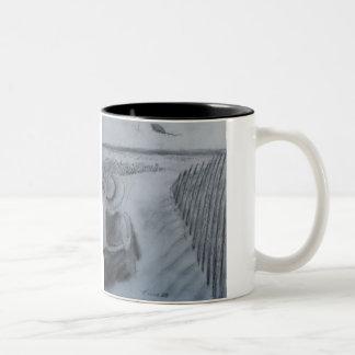 Girl Flying A Kite Two-Tone Mug