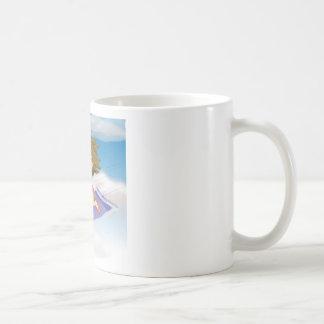 girl flying on mat basic white mug