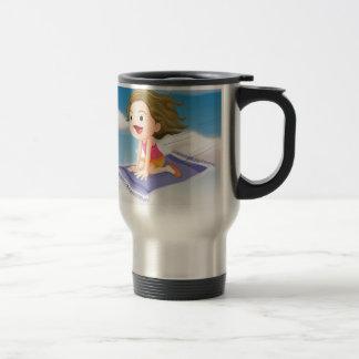 girl flying on mat stainless steel travel mug