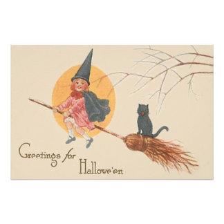 Girl Flying Witch Black Cat Full Moon Art Photo