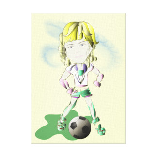 Girl Footballer Art Wrapped Canvas