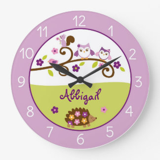 Girl Forest Animal Personalized Clock