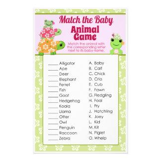 Girl Frog Baby Shower Game Animal Match Sheet 14 Cm X 21.5 Cm Flyer