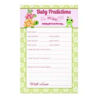 Girl Frog Baby Shower Predictions Activity Sheet 14 Cm X 21.5 Cm Flyer