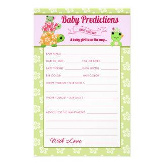 Girl Frog Baby Shower Predictions Activity Sheet 14 Cm X 21.5 Cm Flyer