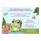 Girl FROG birthday invitation pink pond turtle
