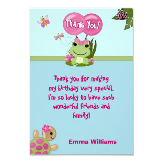 "Girl FROG Thank You card 3.5""x5"" (FLAT style) 9 Cm X 13 Cm Invitation Card"