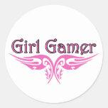 Girl Gamer Round Sticker