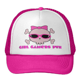 Girl Gamers pwn Skull With Shades Trucker Hat