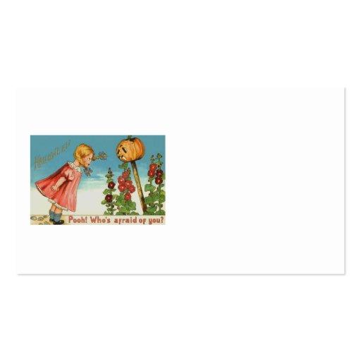 Girl Garden Jack O Lantern Pumpkin Business Cards