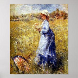Girl Gathering Flowers Fine Art by Renoir Print