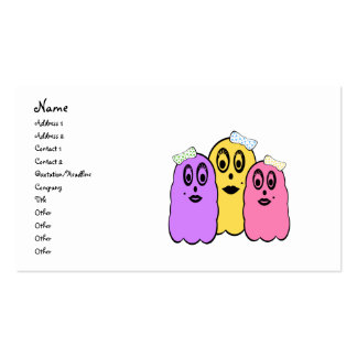 Girl ghosts in violet yellow and pink pack of standard business cards