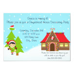 "Girl Gingerbread House Birthday Invitation 5"" X 7"" Invitation Card"