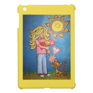 girl gives cat flowers i-pad mini case cover for the iPad mini