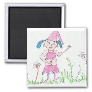 Girl Gnome Square Magnet