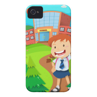 Girl going to school iPhone 4 Case-Mate case