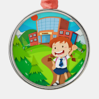 Girl going to school Silver-Colored round decoration