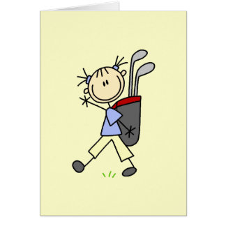 Girl Golfer With Bag and Clubs Stationery Note Card