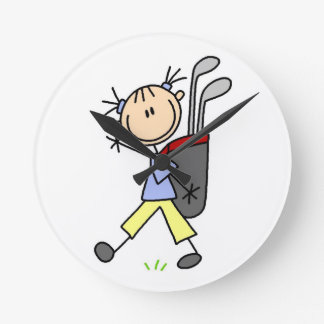 Girl Golfer With Bag and Clubs Clocks