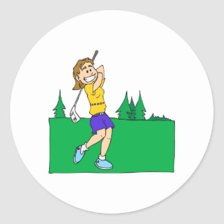 Girl Golfers Round Sticker
