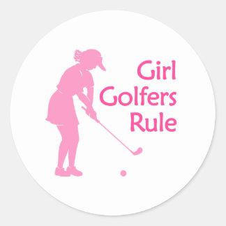 Girl Golfers Rule Round Sticker
