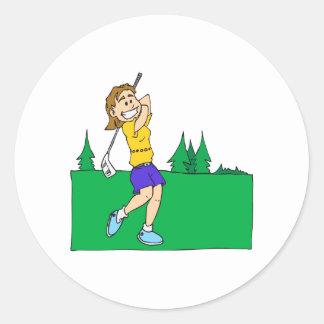Girl Golfers Round Stickers
