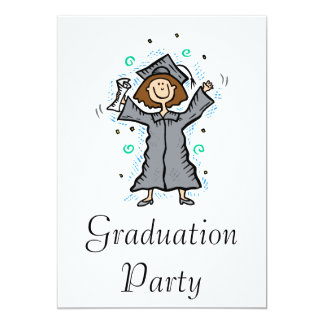 Girl Grad Celebration 13 Cm X 18 Cm Invitation Card