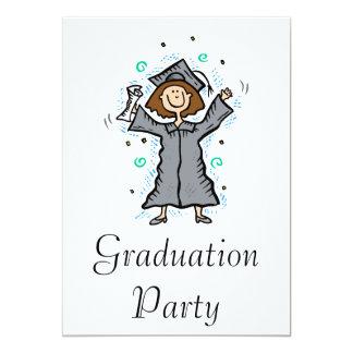 Girl Grad Celebration 13 Cm X 18 Cm Invitation Card