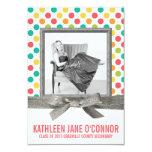Girl Graduate Bright Polkadots and Glitter Ribbon 9 Cm X 13 Cm Invitation Card