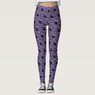 Girl Grim Reaper with Cemetery Background Leggings