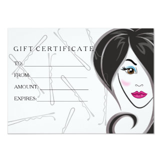 Girl hair salon gift certificate 11 cm x 16 cm invitation card